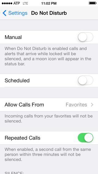 Do Not Disturb, disabled