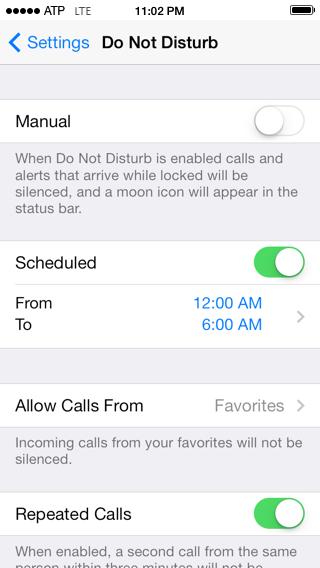 Do Not Disturb, scheduled