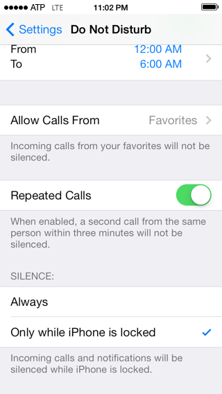 Repeated / Locked Settings