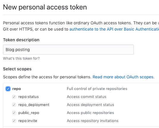 "Personal Access Token creation form with ""repo"" privilege, and its sub-privileges, selected"